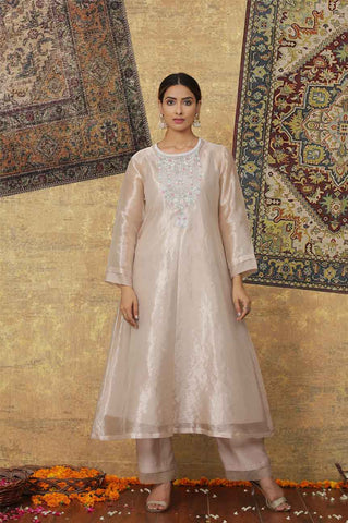 Metallic Pink Tissue Chanderi Kurta Set