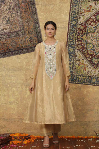 Metallic Gold Chanderi Embroidered Kurta Set