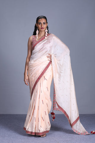 Ivory Organza Saree With Embroidered Blouse