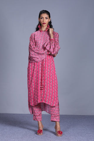 Rapture Rose Printed Silk Tunic With Printed Pants