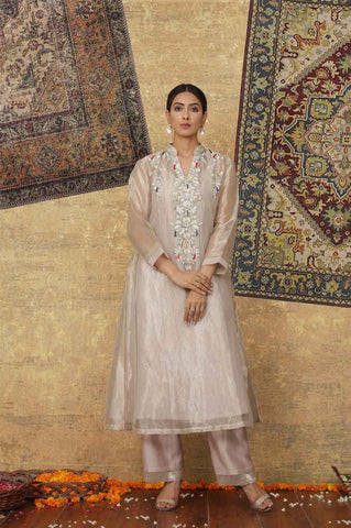 Metallic Pink Tissue Chanderi Embroidered Kurta Set