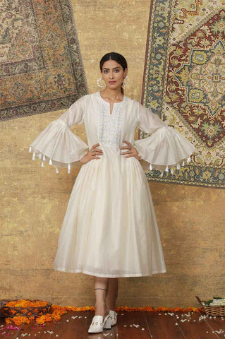 White Chanderi Silk Embroidered Dress