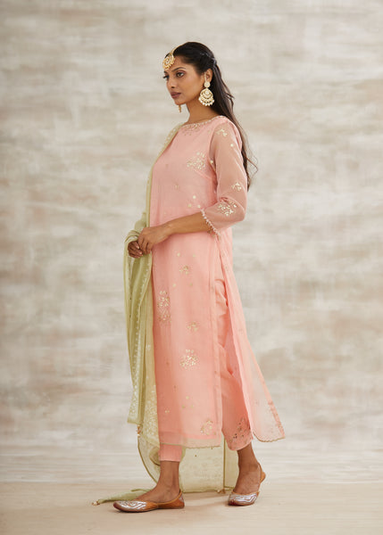 Peach Chanderi Embroidered Kurta With Pants & Jade Dupatta