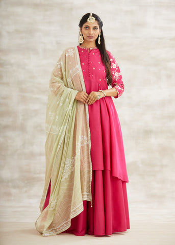 Fuchsia Embroidered Asymmetric Kurta With Sharara & Jade Dupatta