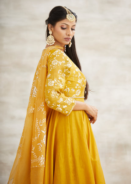 Mustard Foil Print Highlighted Anarkali With Sharara & Dupatta