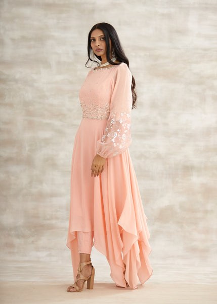 Peach Embroidered Asymmetric Tunic