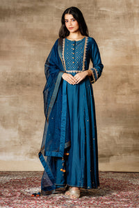Navy Cotton Silk Embroidered Kalidar With Churidar And Dupatta