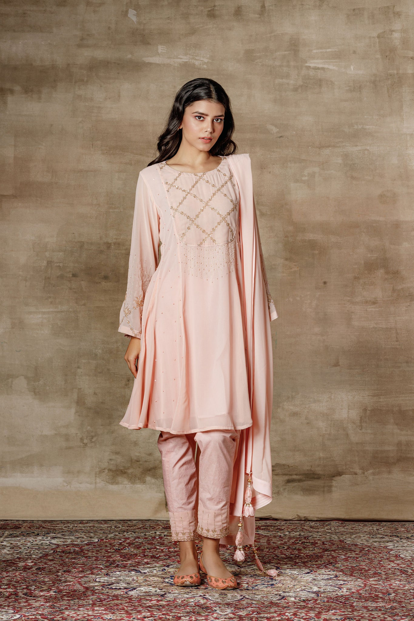 Peach Embroidered Short Kurta With Pants & Dupatta