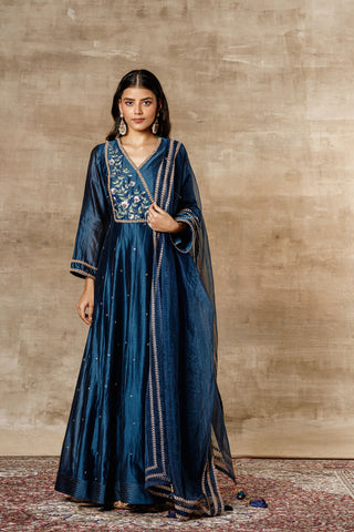 Navy Chanderi Kalidar Kurta With Churidar And Dupatta