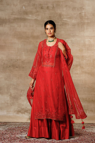 Crimson Red Embroidered Organza Kurta With Bustier, Palazzo And Dupatta