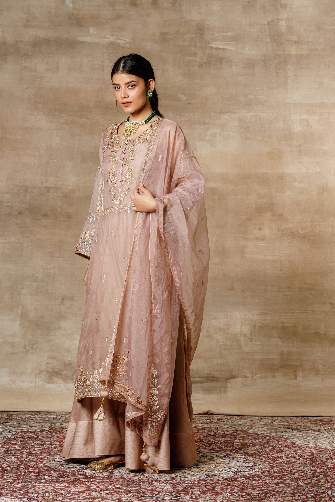 Nude Organza Embroidered Kurta With Bustier, Palazzo And Dupatta