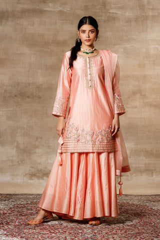 Peach Chanderi Embroidered Kurta With Sharara & Organza Dupatta