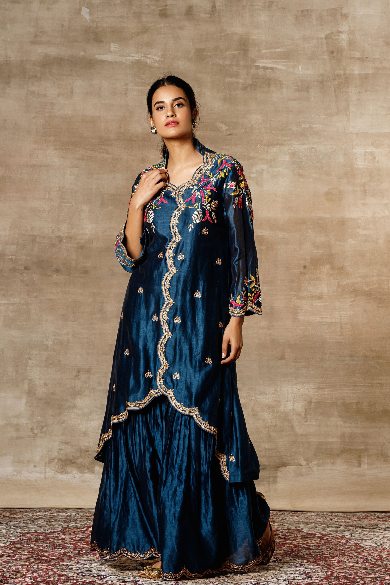 Blue Chanderi Embroidered Scallop Finished Jacket With Gharara