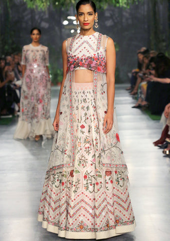 Ivory Dareecha Multi hand Embroidered Lehenga