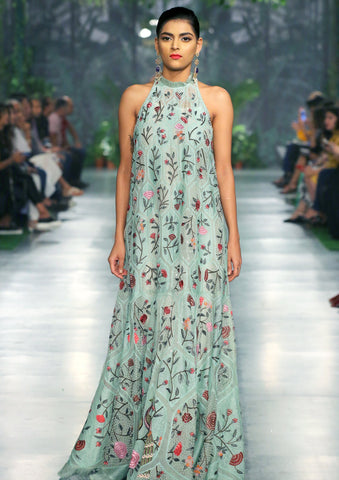 Dark Mint Dareecha Hand Embroidered Gown