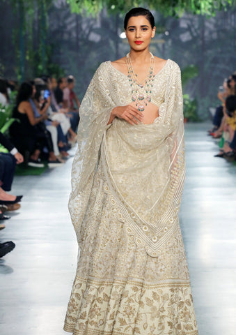 Ivory Gold Embroidered Zellige Lehenga