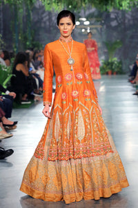 Orange Mehrab Embroidered Gown