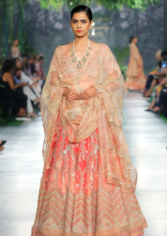 Coral & Peach Ombre Jharokha Hand Embroidered Lehenga