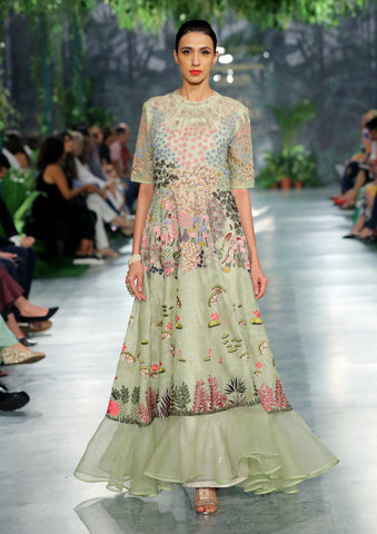 Apple Green Nishat Embroidered Gown