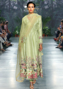 Apple Green Embroidered Nishat Spiral Kurta