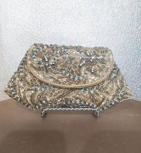 Dull Gold Embroidered Clutch