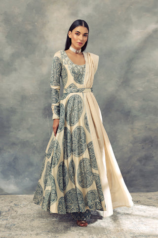 Ivory & Peacock Green Ambi Circle Print Anarkali With Dupatta & Belt