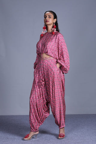 Rose Pink Printed Loose Top With Cowl Pants