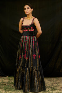 Black Stripe Chanderi Pleated Lehenga