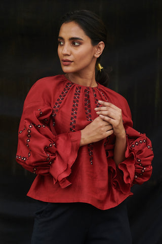 Red Chanderi Embroidered Top