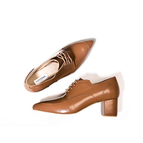 Tan Pure Leather Sharp Derby Heels