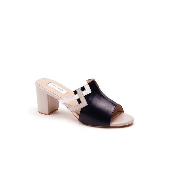 Black Pure Leather Mule Block Heels With Ivory Square Detailing