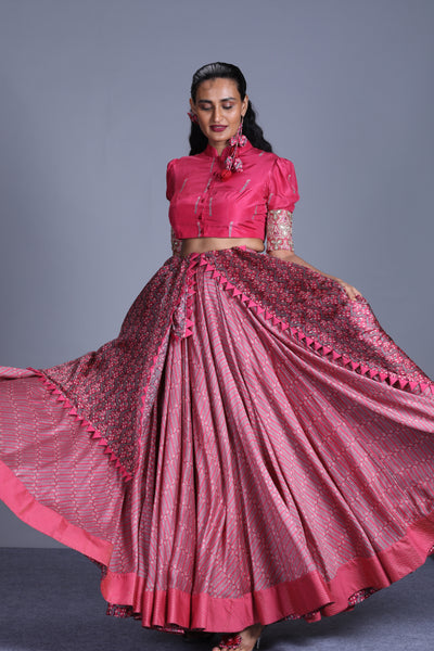 Rapture Rose Printed Lehenga With Blouse And Dupatta