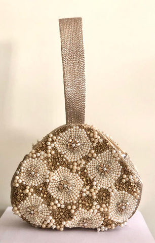 Pearl & Antique Floral Embroidered Potli With Wrist Strap
