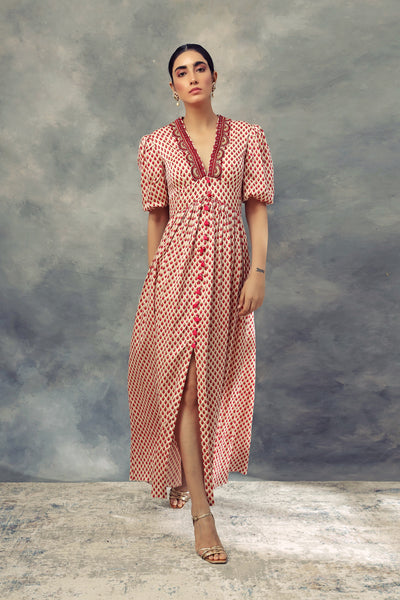 Ruby Red Bindu Print Short Puff Sleeves Dress