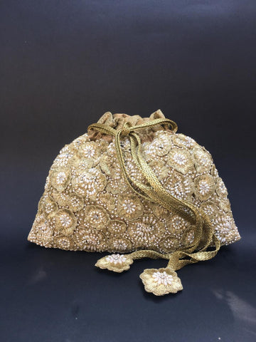 Gold With Pearl Hand Embroidered Potli