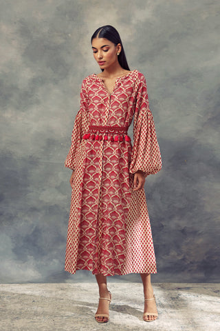 Printed Puff Sleeves Dress With Embroidered Belt