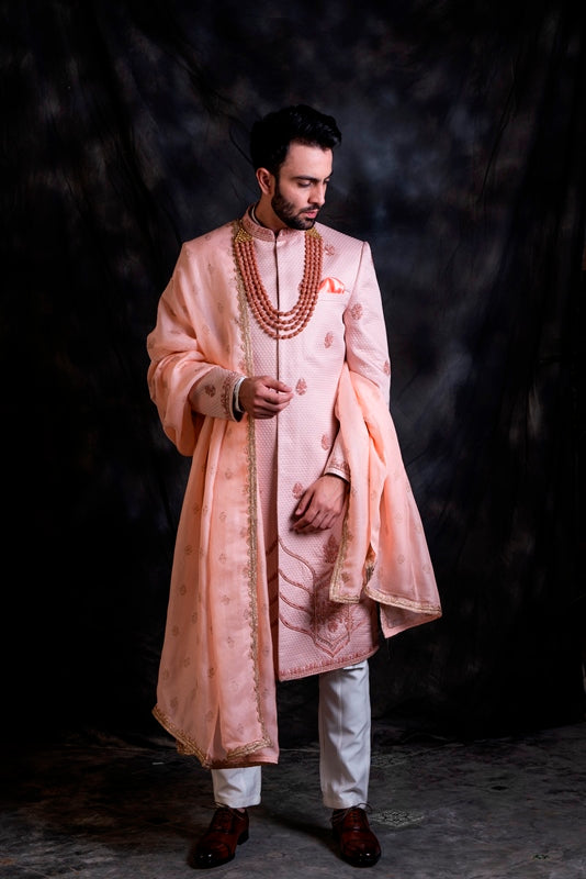 Powder Pink Quilt Sherwani With White Pants & Accessories