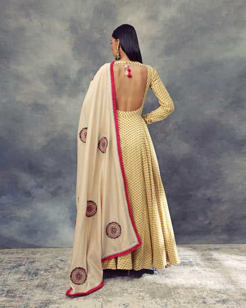 Mustard Yellow Bindu Print Anarkali & Embroidered Dupatta