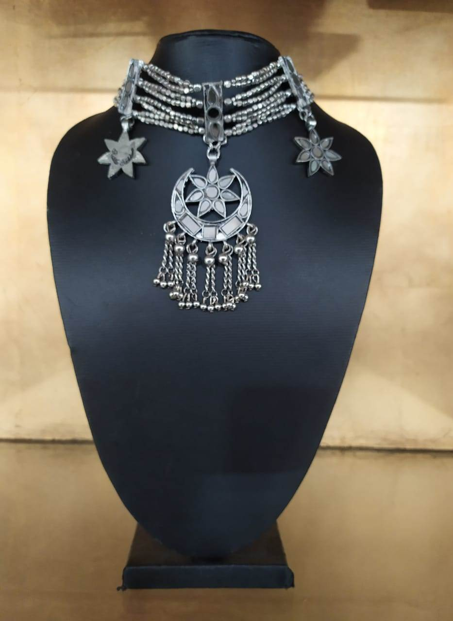 Silver Choker With Mirror Pendant