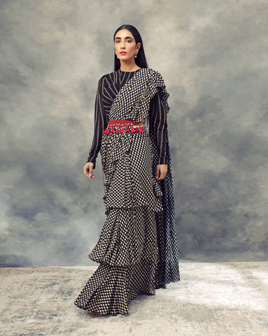 Black Bindu Print Saree With Nukta Print Drape Blouse & Embroidered Tasseled Belt