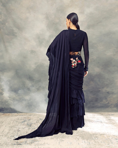 Black Ruffle Saree With Draped Blouse & Handcrafted Pearl Embroidered Belt