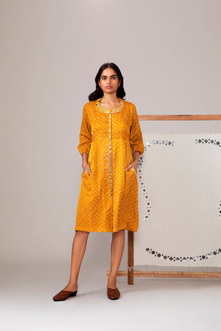 Yellow Bandhani Dress With Mirror Work