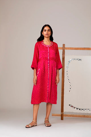 Pink Bandhani Dress With Mirror Work
