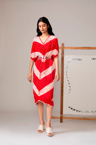 Red Shibori Kaftan With Belt