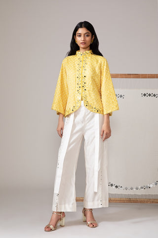 Yellow Bandhani Short Jacket With Mirror Work