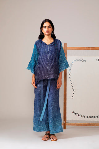 Blue Bandhani Flared Sleeve Top