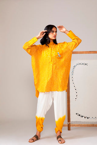 Yellow Over Size Bandhani Shirt