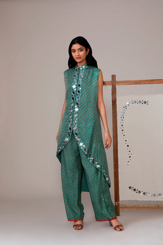 Teal Bandhani Asymmetric Jacket & Pant Set