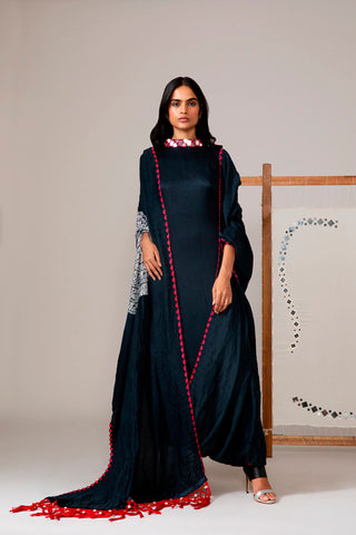 Black High-Neck Shibori Drape Dress