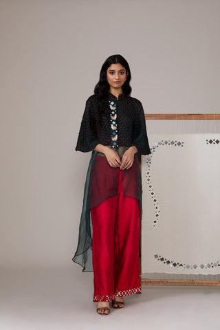 Black Bandhani Asymmetric Tunic With Organza Flare